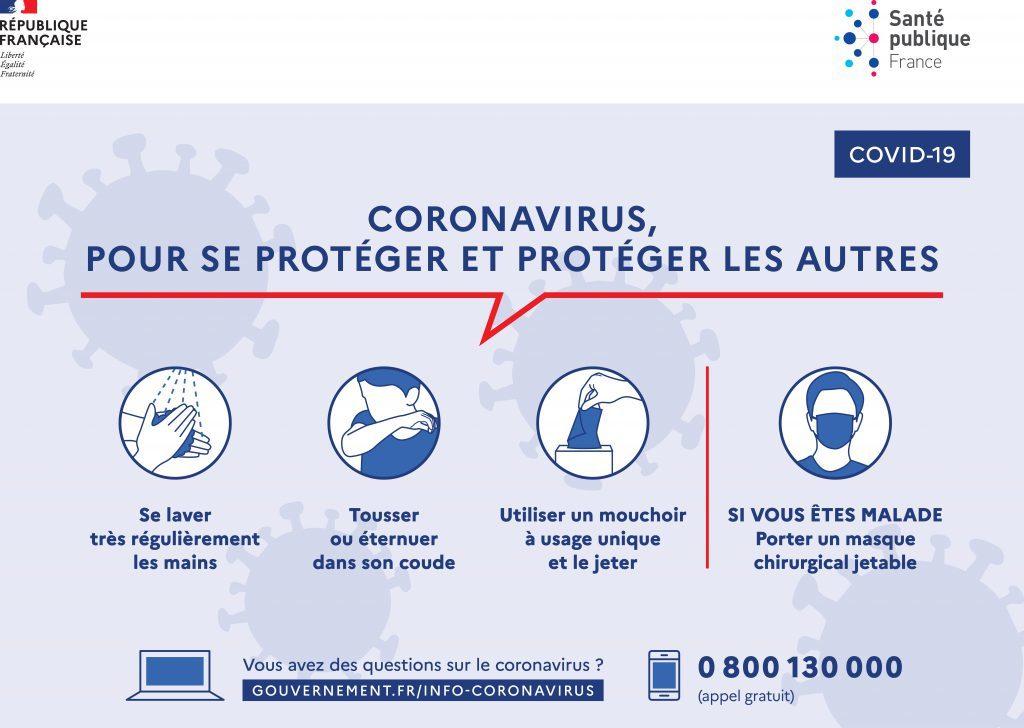 Recommandations du gouvernement français pour limiter la diffusion du Corona virus